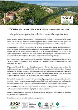 XXVIIes rencontres Géole 2018 - Le patrimoine géologique, de l'inventaire à la vulgarisation - Vers (Lot)