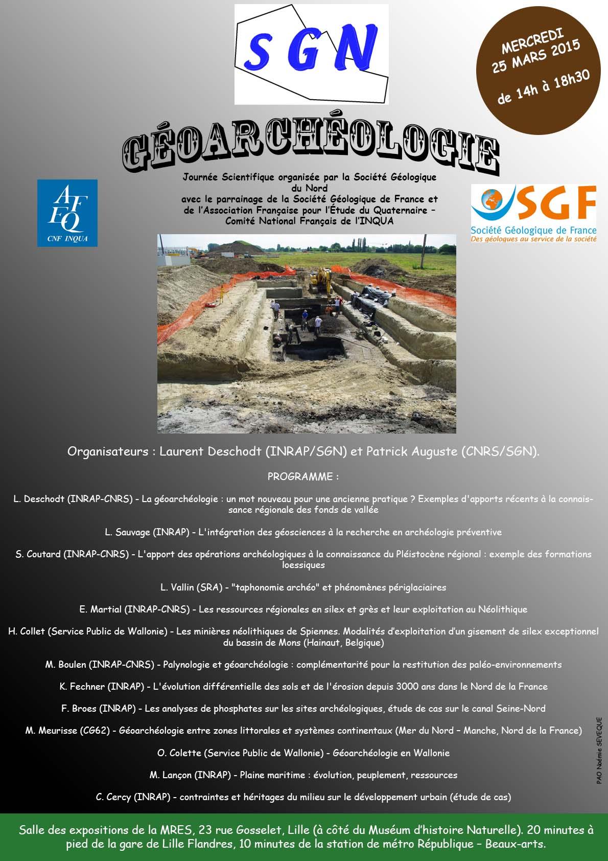 Géoarchéologie - Journée scientifique organisée par la SGN