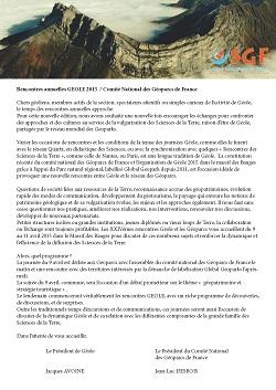 Rencontres annuelles GEOLE 2015 / Comité National des Géoparcs de France