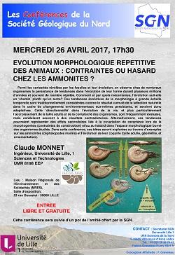 Conférence : Evolution morphologique répétitive des animaux : contraintes ou hasard chez les ammonites ? - SGN