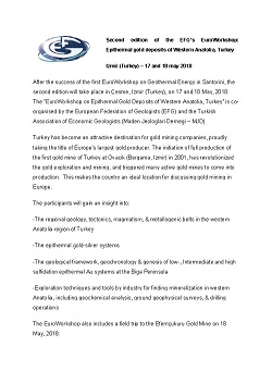 Second edition of the EFG's EuroWorkshop: Epithermal gold deposits of Western Anatolia