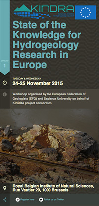 STATE OF THE KNOWLEDGE FOR HYDROGEOLOGY RESEARCH IN EUROPE – KINDRA ORIENTATION WORKSHOP FOR NATIONAL EXPERTS